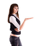 Young brunette woman on white Stock Image