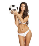 Young brunette woman in white underwear, studio Stock Photos