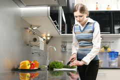 A young brunette woman working in the kitchen Royalty Free Stock Images