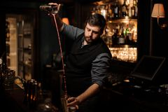 Bartender mixing an alcohol cocktail in shaker. Young brutal male bartender mixing an alcohol cocktail in steel shaker stock photo
