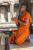 Young Buddhist monk in Angkor Wat, Cambodia Stock Photo