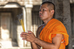 Young Buddhist monk in Angkor Wat, Cambodia Royalty Free Stock Photography