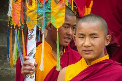 Free Young Buddhist Monk At Ceremony Of Buddha Annivewrsary Celebration In Nepal Temple Royalty Free Stock Image - 199612666