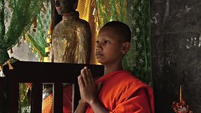 Young buddhist monk praying stock video footage