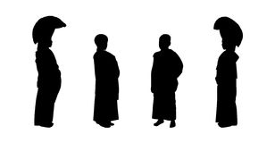 Young buddhist monks silhouettes set 1 Royalty Free Stock Photography