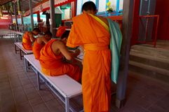 Young buddhist monks studying Stock Images