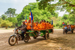 Young Buddhist monks traveling to Angkor, Siem Reap, Cambodia Stock Image