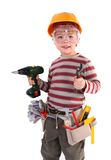 Young Builder. Young Boy Builder on white Stock Photography