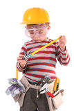 Young Builder. Young Boy Builder on white stock image