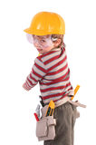 Young Builder. Young Boy Builder on white royalty free stock photography