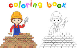 Young Builder Or Engineer In A Uniform And Helmet With Trowel Ne Stock Photo
