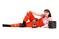 Young builder woman in uniform Stock Images