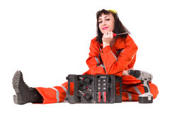 Young builder woman in uniform Royalty Free Stock Photo