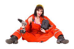 Young builder woman in uniform Royalty Free Stock Image