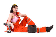 Young builder woman in uniform Stock Photography