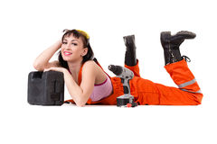 Young builder woman in uniform Stock Image