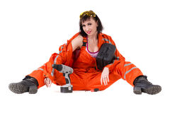 Young builder woman in uniform Royalty Free Stock Photos