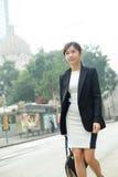 Young buisness woman walking at outdoor royalty free stock photo