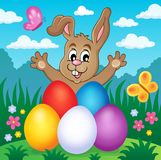 Young bunny with Easter eggs theme 2 Stock Photography