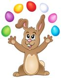 Young bunny with Easter eggs theme 3 Stock Photo
