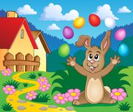 Young bunny with Easter eggs theme 5 Stock Photos