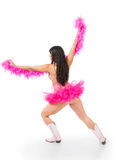 Young burlesque dancer in warrior pose Royalty Free Stock Photo