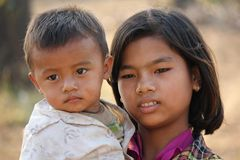 Young burmese Family.  Brother and sister Stock Photos
