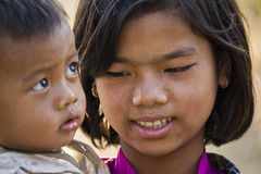 Young burmese Family.  Brother and sister Royalty Free Stock Photo