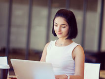 Young busines woman with notebook Royalty Free Stock Image