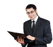 Young businesman. In black dress with white tshirt royalty free stock photo