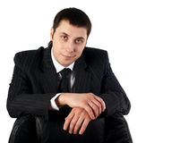 Young businesman. In black dress with white tshirt stock photography