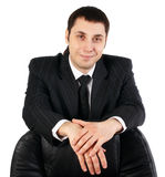 Young businesman. In black dress with white tshirt royalty free stock photos