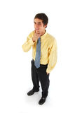 Young Business. A young businessman in a yellow shirt and blue tie Stock Photos