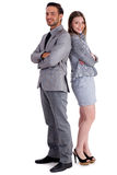 Young business collegues standing back to back royalty free stock images