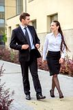 Young business couple outdoor Stock Images