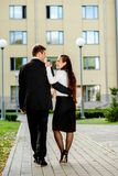 Young business couple outdoor Royalty Free Stock Image