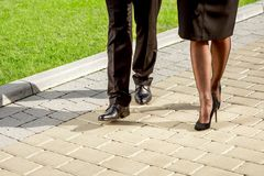 Young Business couple outdoors. Royalty Free Stock Photo