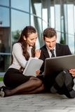 Young Business couple outdoors. Stock Photos