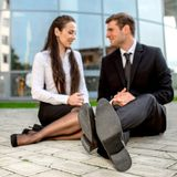 Young Business couple outdoors. Royalty Free Stock Images