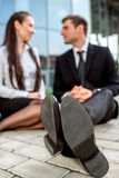 Young Business couple outdoors. Royalty Free Stock Image