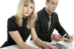 Young  business couple over white Stock Image