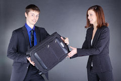 Young Business couple with suitcase have fun Stock Photo