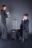 Young Business couple with suitcase have fun Royalty Free Stock Image