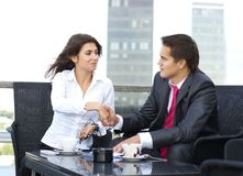 A young business couple working together Stock Photos