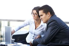A young business couple working together Royalty Free Stock Photography