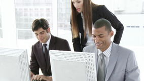 Young Business coworkers helping each other stock footage