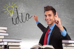 Young business drawing an idea light bulb royalty free stock photos