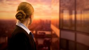 Free Young Business Employee Looking At Sunset, Dreaming Of Successful Job Career Stock Photography - 153664562