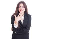 Young business female showing number five with fingers Royalty Free Stock Image