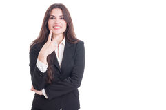 Young business female showing number two with fingers Stock Photos
